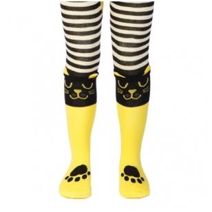 Conte Kids Tip-Top geltonai juodai dryžuotos pėdkelnės vaikams - KATINAI
