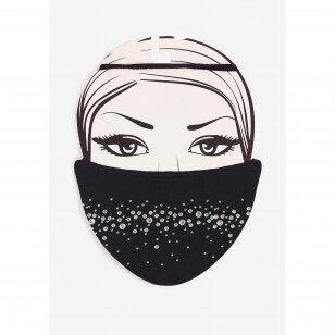 Marilyn Diamond 2 daugkartinio naudojimo kaukė su sidabro jonais bei dekoruota žvilgančiais kristalais