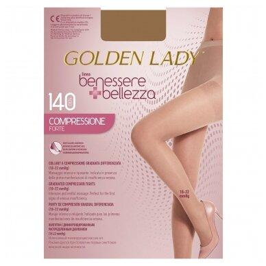 Golden Lady Benessere kompresinės pėdkelnės kojoms su išsiplėtusiomis venomis 140 den