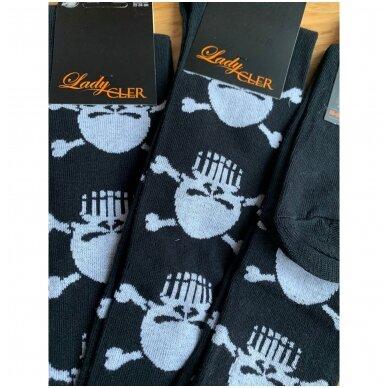 Lady Cler medvilninės kojinės su kaukolėmis iki kelių