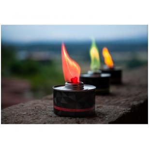 Rinkinys - oranžinės, žalios ir raudonos spalvos liepsnos žvakės