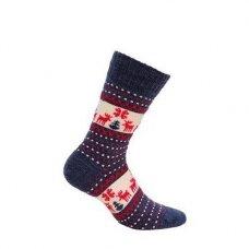 Wola šiltos raštuotos kalėdinės kojinės - mėlynos briedžiai