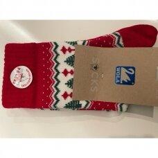 Wola šiltos raštuotos kalėdinės kojinės - žalios eglutės