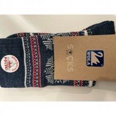 Wola šiltos raštuotos kalėdinės kojinės - mėlynos snaiges