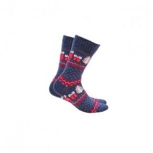 Wola šiltos raštuotos kalėdinės kojinės - mėlynos