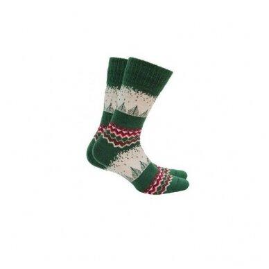 Wola šiltos raštuotos kalėdinės kojinės - žalios